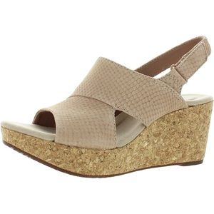 Clarks Leather Annadel Sky Wedge Sandals 10